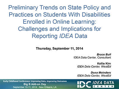 Preliminary Trends on State Policy and Practices on Students With Disabilities Enrolled in Online Courses: Challenges and Implications for Reporting