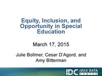 Equity, Inclusion, and Opportunity in Special Education